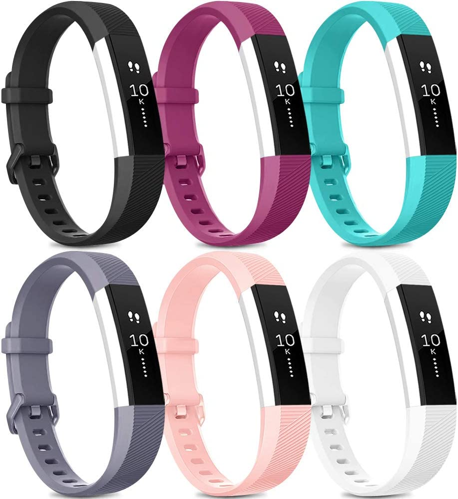 [Pack 6] Bands Compatible with Fitbit Alta HR Bands for Women Men, Soft Silicone Sport Replacement Bands for Fitbit Alta and Fitbit Alta HR (Small, Black, Fuchsia, Teal, Gray, Pink, White)