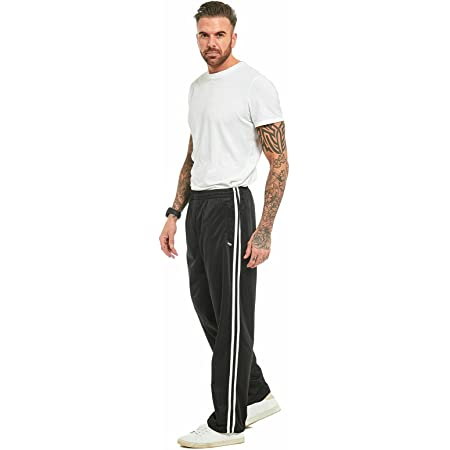 MyShoeStore Mens Track Suit Bottom Casual Elasticated Waist Tracksuit Bottoms Silky Joggers Jogging Jog Trousers Leisure Gym Sports Yoga Open Hem Pull On Pants