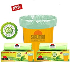 Shalimar Compostable/Biodegradable Garbage Bags (Extra Large) Size 76 cm x 94 cm 2 Rolls (20 Bags) (Trash Bag/Dustbin Bag) (Green)
