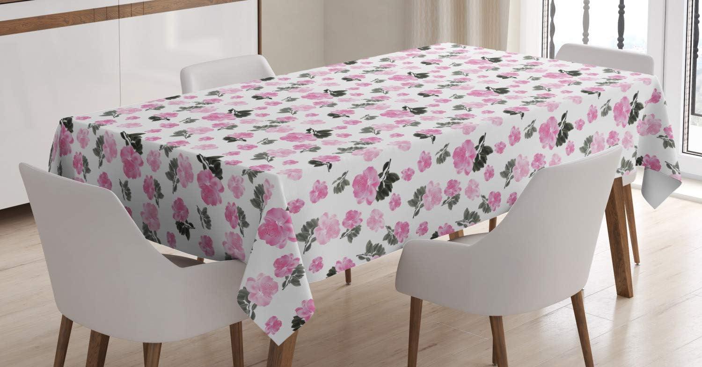 Amazon.com Ambesonne Peony Tablecloth, Repeating Romantic Pinkish ...