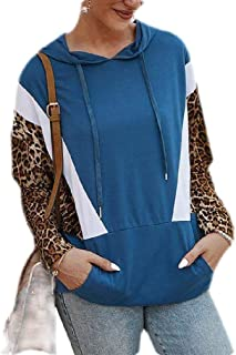Macondoo Women's Casual Print Pullover Color Block Drawstring Hooded Sweatshirt