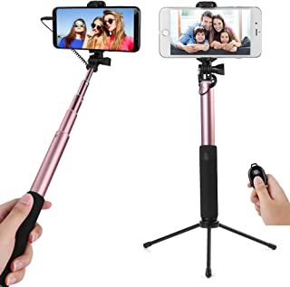 2 in 1 Convertible Selfie Stick (Rose) to Tripod for LG Q Stylus, Stylo 4, V35 ThinQ, Q7, K30, V30S ThinQ, G7 ThinQ, Zone 4, Aristo 2, Tribute Dynasty, Signature Edition