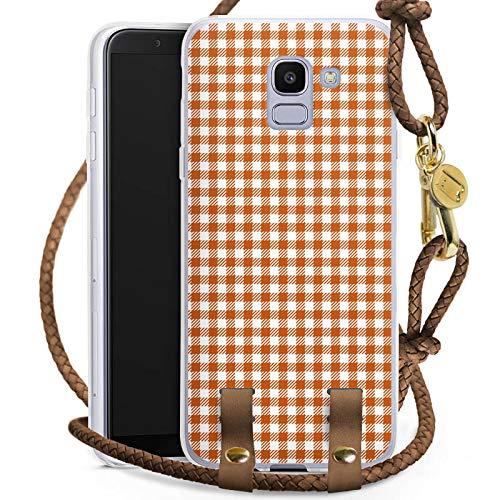 Carry Case kompatibel mit Samsung Galaxy J6 2018 Handykette Handyhülle zum Umhängen Karo Picknick Decke
