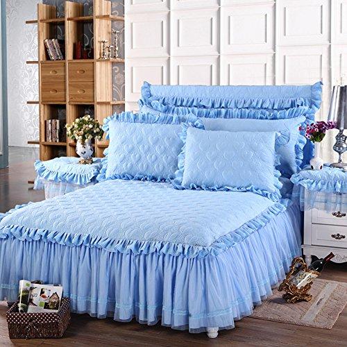 chenyu Parure de lit matelassée en coton épais Motif cœurs Bleu 180 x 200 cm