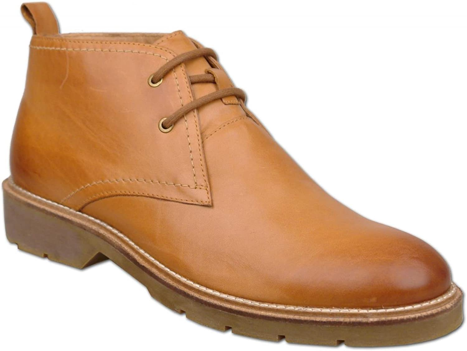 Mens Light Tan Leather Chukka Ankle Boots