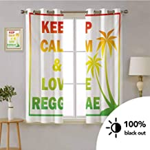 Rasta -Energy Efficient Blackout Grommet Curtain Keep Calm and Love Reggae Quote in Ombre Rainbow Colors Music Themed -Curtains For Living Room Decorative W72 x L45 Inch Pale Green Red and Yellow
