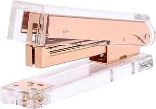 LOMOFI Acrylic Rose Gold Desktop Stapler - A Classic Modern Design - Elegant Office Desk Accessory