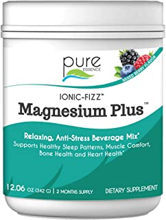Pure Essence Labs Ionic Fizz Magnesium Plus - Calm Sleep Aid and Natural Anti Stress Supplement Powder - Mixed Berry - 12....