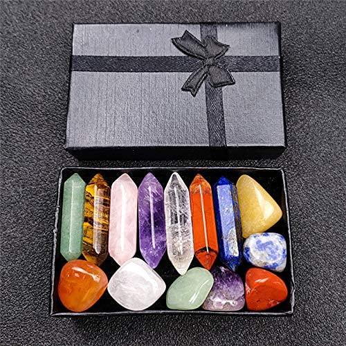 Kit de cristales curativos de primera calidad en caja de madera - Juego de 7 piedras caídas de chakras, juego de piedras de 7 chakras, amuleto de yoga de piedras de meditación con caja de regalo