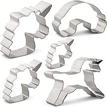 YUHAO Unicorn Cookie Cutter Set - 5 PCS - in Large/Medium/Small Size, Unicorn, Rainbow Mold Shape - Stainless Steel