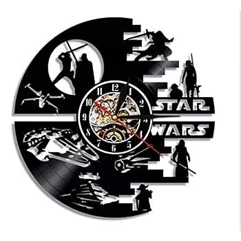 Cadeau de d/écoration pour Les Amoureux de Star Wars Horloge Murale silencieuse CDwxqBB Horloge Murale en Vinyle