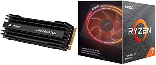Corsair Force Series MP600 1TB Gen4 PCIe X4 NVMe M.2 SSD, Up to 4,950 MB/s (CSSD-F1000GBMP600) Bundle with AMD Ryzen 7 370...