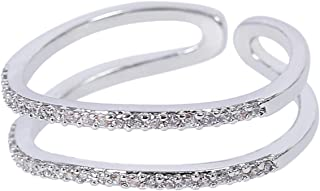 MOONSTONE Women's and Ladies Fashion Jewelry Ring Double Band Micro Pave Cubic Zirconia Adjustable Size Accessories