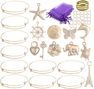 ChangJin 10PCS/Set Antiqued Gold Metal Expandable Wire Charms Bangle Bracelets Gift Bags Making Kit for Girl Boy Women