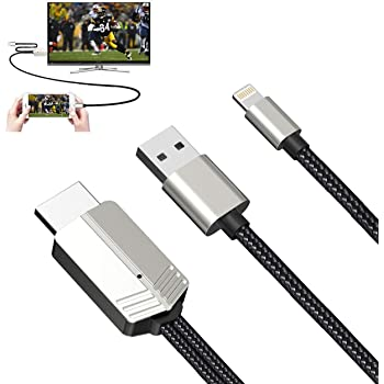 Silver ZFKJERS Phone to HDMI Cable Compatible with iOS Devices Mirroring Phone Screen to TV//Projector//Monitor Adapter Cable 1080P Digital AV Adapter