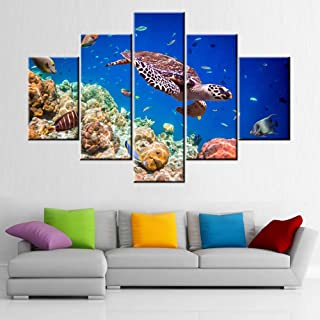 Artwork for Walls Turtle and Tropical Fishes Wall Art Seaview Pictures for Living Room 5 Piece Printed on Canvas Blue Pain...