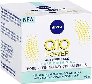 NIVEA Q10 Power Anti-Wrinkle Pore Refining Day Cream Moisturiser, SPF15 with Creatine & Algae Extract for Normal to Combination Skin, 50ml