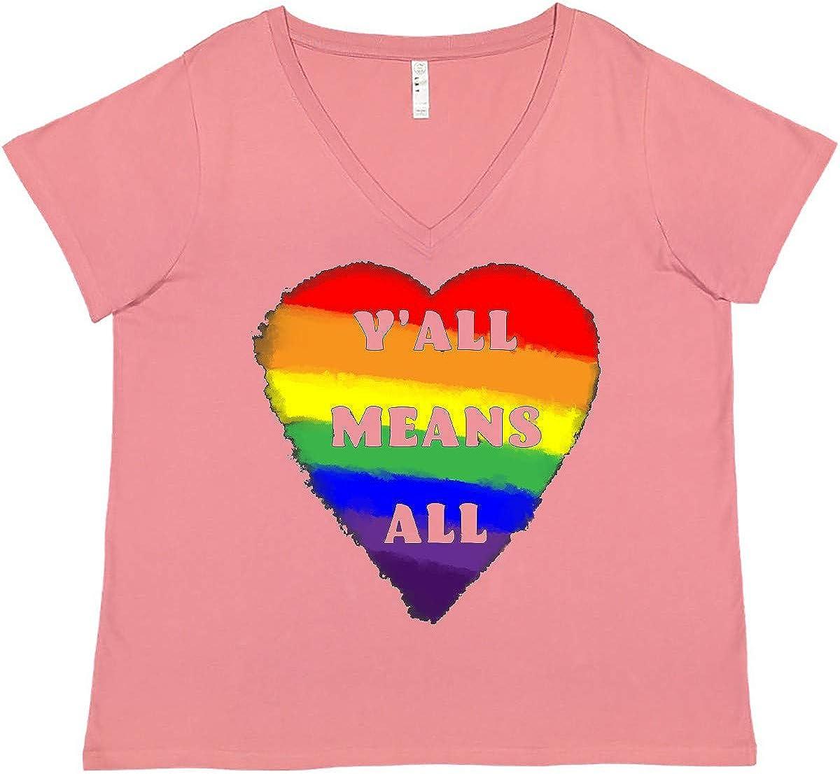 inktastic Y'all Means 入手困難 All Rainbow Size Heart 今ダケ送料無料 Women's Pride Plus