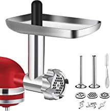 Metal Food Grinder Attachment for KitchenAid Stand Mixers, BQYPOWER Meat Grinder Attachment Included 2 Sausage Stuffer Tubes, 3 Grinding Blades, 3 Grinding Plates
