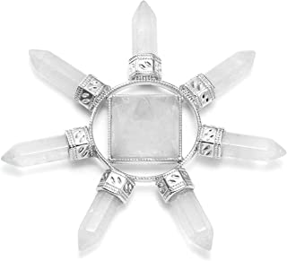 Jovivi Pyramid Crystal Energy Generator Clear Quartz Chakra Stone Points Seven Directions Reiki Stone for Healing Meditation Spiritual