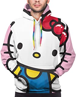 Hello Kitty 3D Pullover Hoodie Fashion Sweatshirt Long Sleeve Hoody Tops for Men
