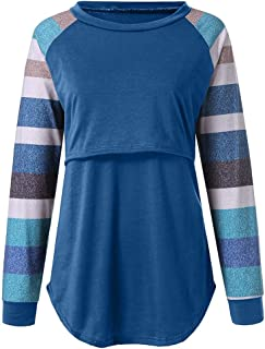 Women's Nursing Tops Color Block Long Sleeve Round Neck Breastfeeding T-Shirt Maternity Tunics