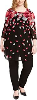 Alfani Plus Size Printed 3/4-Sleeve Tunic Top, Created for Macy's Pink