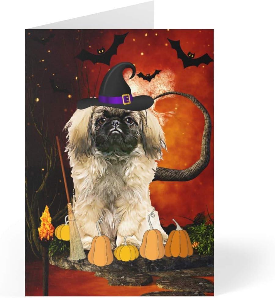 Pekingese Dog Halloween Greeting Cards - 5 Dedication x 7 Set of Max 43% OFF 25 inches