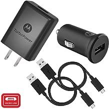 Motorola TurboPower Micro-USB Car + Home Bundle: TurboPower 15 Car & TurboPower 15+ Wall Charger with 2 SKN6461A data cables for Moto E5 Plus, G5 Plus, G5S, G6 Play [Not for G6, G6 Plus] (Retail Box)