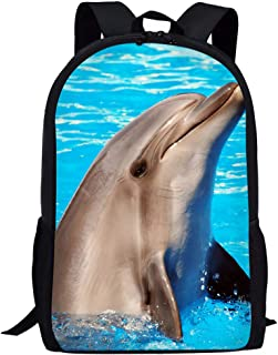 Cute Dolphin Pattern Kids School Shoulder Bag Animal Bookbags Travel Daily Daypack with Adjustable Strap