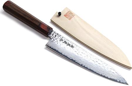 Yoshihiro Hammered Damascus Gyuto