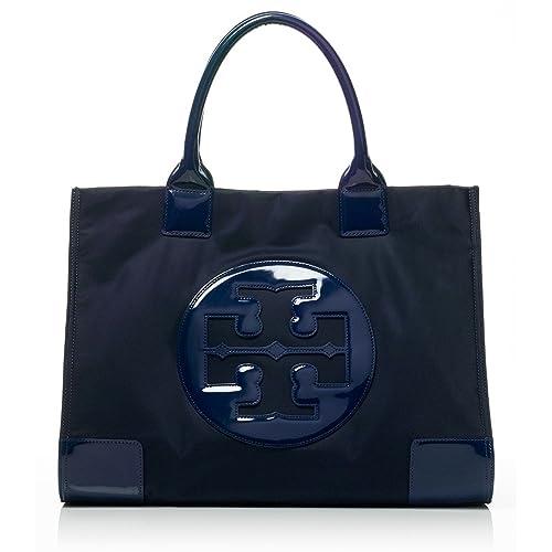 d206fe07ac7 Tory Burch Ella Tote Nylon and Patent Handbag French Navy