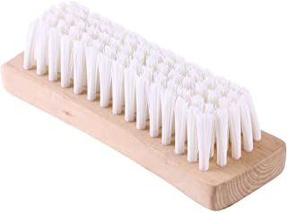 OUNONA Multi-use Clothes Shoes Shine Brush,Soft Nylon Bristles Laundry Cleaning Brush With Wooden Handle For Down Jackets and Coats (White)