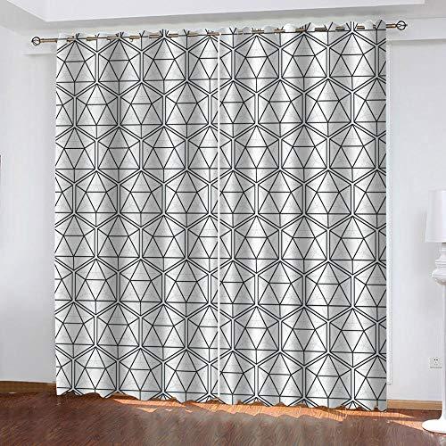 WAFJJ Verdunkelungsvorhang Schwarz & Weiß Blickdichte Gardinen -Lichtundurchlässige Vorhänge mit Ösen für Schlafzimmer Kinderzimmer Geräuschreduzierung 2er Set Größe:2X B110 x H215cm