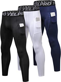 Yuerlian Men's Compression Pants Running Tights Cool Dry Baselayer Leggings Gym Sports Pants with Pocket 3 Pack