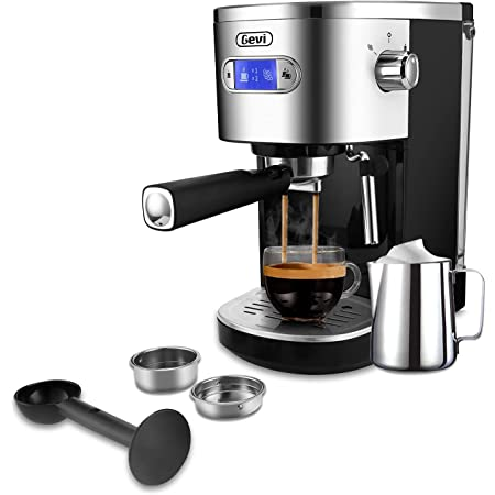 Gevi Espresso Machines 20 Bar Fast Heating Automatic Cappuccino Coffee Maker with Foaming Milk Frother Wand for Espresso, 1.2L Removable Water Tank, Double Temperature Control System 1350W, Black
