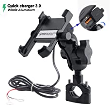 Whole Aluminium Motorcycle Phone Mount Handlebar 3.4A Quick Charge USB Socket Waterproof Motorbike Cellphone Holder 360° Rotation Bracket for iPhone/Huawei/Samsung on 10-24V Vehicles
