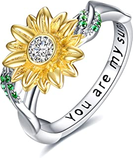 You are My Sunshine Sterling Silver Sunflower Cubic Zirconia Rings Gifts for Women Mom Girlfriend Wife Size 7-8