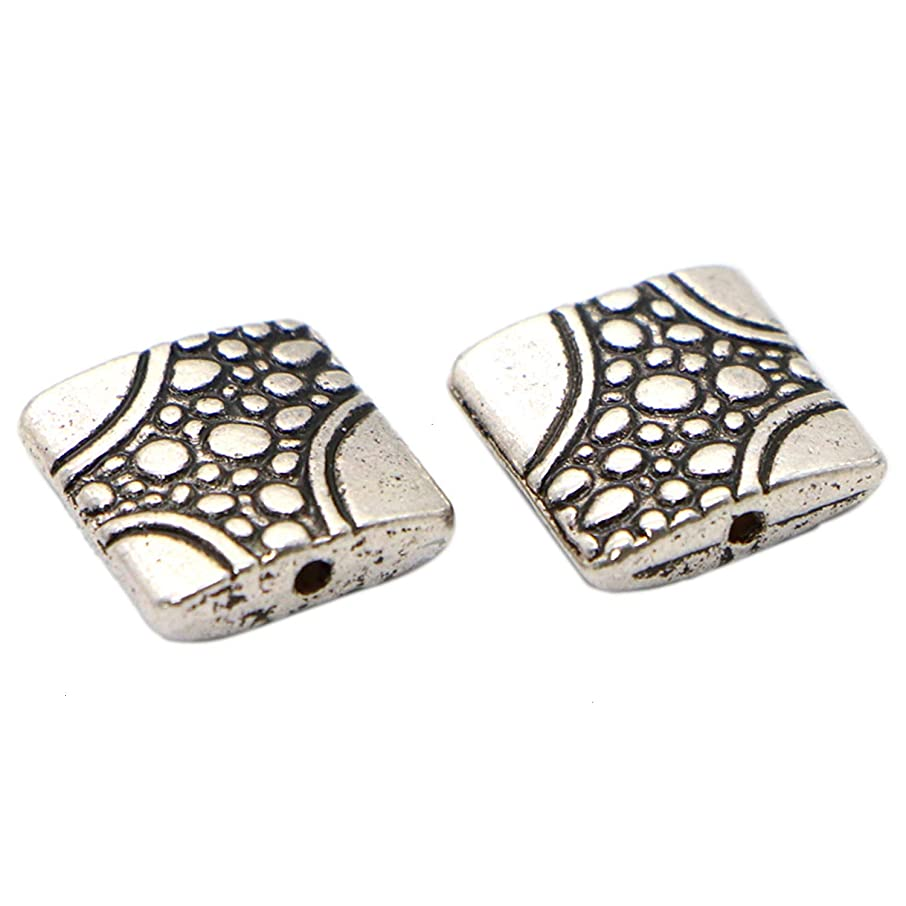 Monrocco 100Pcs Square Spacer Beads Tibetan Antique Square Shaped Spacer Beads Charms for Jewelry Making Findings DIY Craft