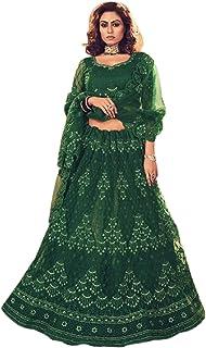 الأخضر الداكن الهندي شبكة الزفاف غغغرا الثقيلة الحبال & ستون العمل Lehenga Choli Dupatta 6024