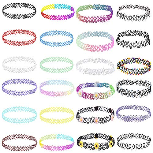 AoedeJ 24PC Choker Necklace Set Charm Stretch Elastic Henna Tattoo Choker Multi-Color Necklace Collar for Women Girls (Style 3)