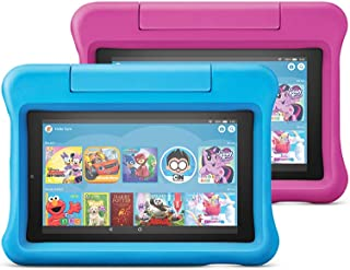 """Fire 7 Kids Edition Tablet 2-Pack, 7"""" Display, 16 GB, Kid-Proof Case - Blue/Pink"""
