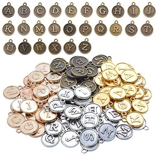 4セット(104個)ラウンド 合金「A-Z」文字混合チャーム 英語のアルファベットチャームペンダント ブレスレット/クラフト/DIYジュエリー作り用 (ミックスカラー)