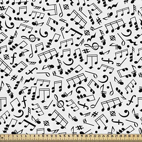 ABAKUHAUS En Blanco Y Negro Tela por Metro, Notas Y Acordes, Decorativa para Tapicería y Textiles del Hogar, 1M (148x100cm), Blanco Negro