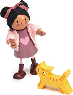 Tender Leaf Toys - Ayana and Her Cat - Wooden Action Figure Dollhouse Miniatures Dolls - Encourage Creative and Imaginativ...