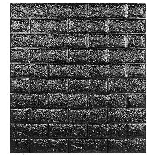 VEVOR 12 STK Wandpaneele Foam Fake Brick 50x50 cm Wand Ziegel PVC Wandaufkleber Selbstklebende Schaum Gefälschte 3D Wandaufkleber Wandpaneel für Home Deko(Schwarz)