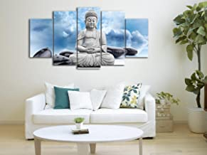 5 Panel Hotoke Picture in Blue Sky Buddhism Buddha Oil Painting Black Stone Decor White Clouds Canvas Art Print For Living Room Decoration Framed Ready to Hang Size:30x50cm x2 30x70cm x2 30x80cm x1