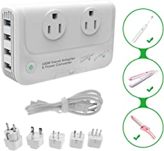 International Travel Adapter 220V to 110V Step Down Power Voltage Converter for Hair Straightener/Curling Iron, Universal Power Plug Adapter UK, US, AU, IT, India …