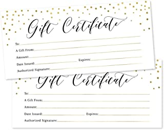 25 4x9 Gold Blank Gift Certificate Cards Vouchers for Holiday, Christmas, Birthday Holder, Small Business, Restaurant, Spa Beauty Makeup Hair Salon, Wedding Bridal, Baby Shower Cash Money Printable