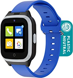 Cosmo JrTrack 2 Kids Smartwatch | Blue | 4G Voice Calling | Text, Voice, & Image Messaging | Enhanced GPS | Blocks Unknown Callers | SIM Card Included